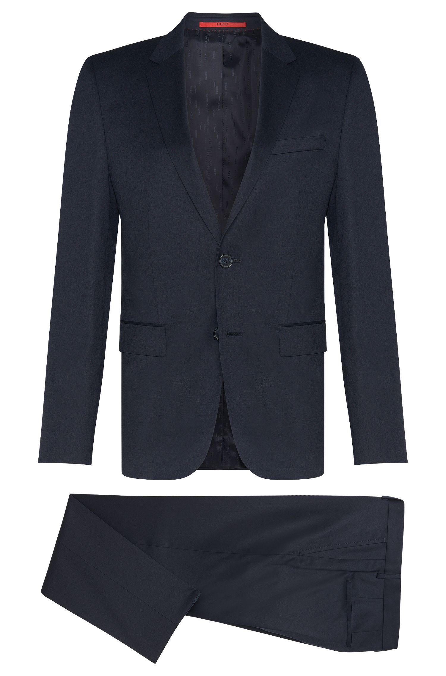 Slim-fit suit in yarn-dyed virgin wool