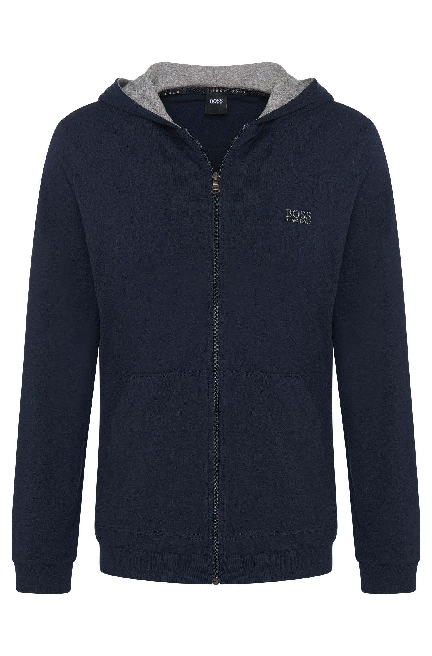 Sweatjas van stretchkatoen met capuchon: 'Jacket Hooded'