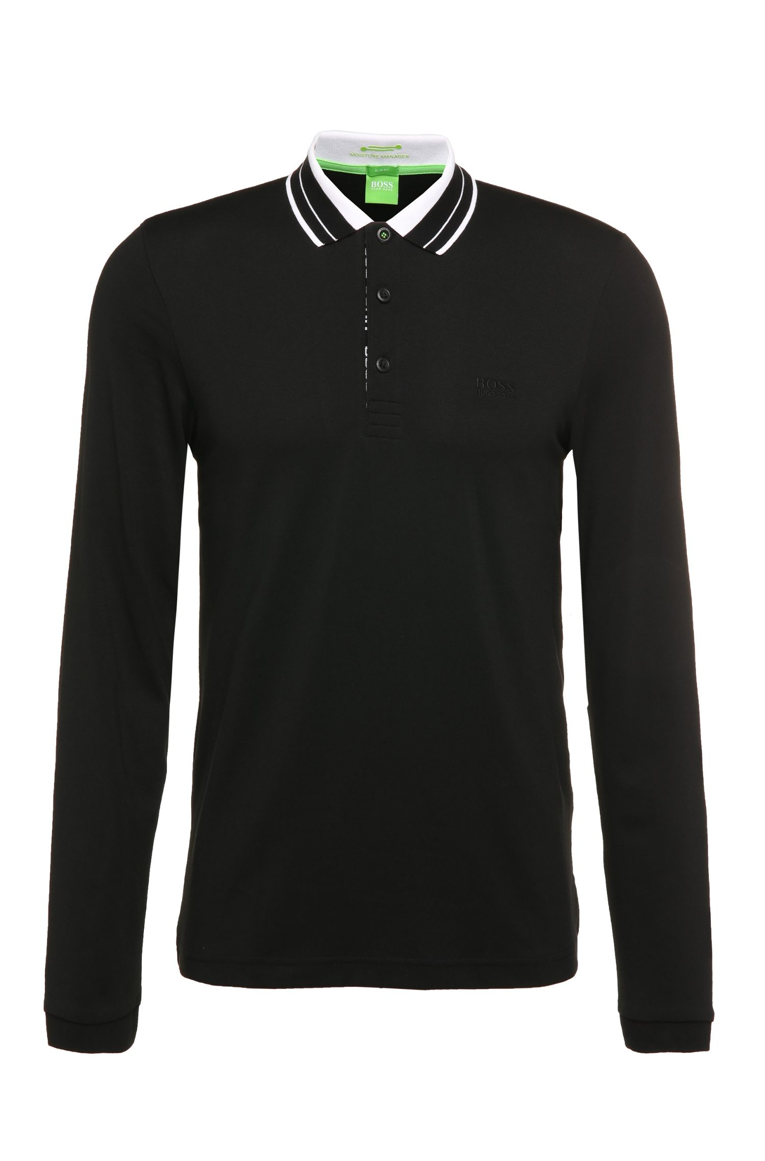 Long-sleeved polo shirt 'Pleesy' in cotton blend