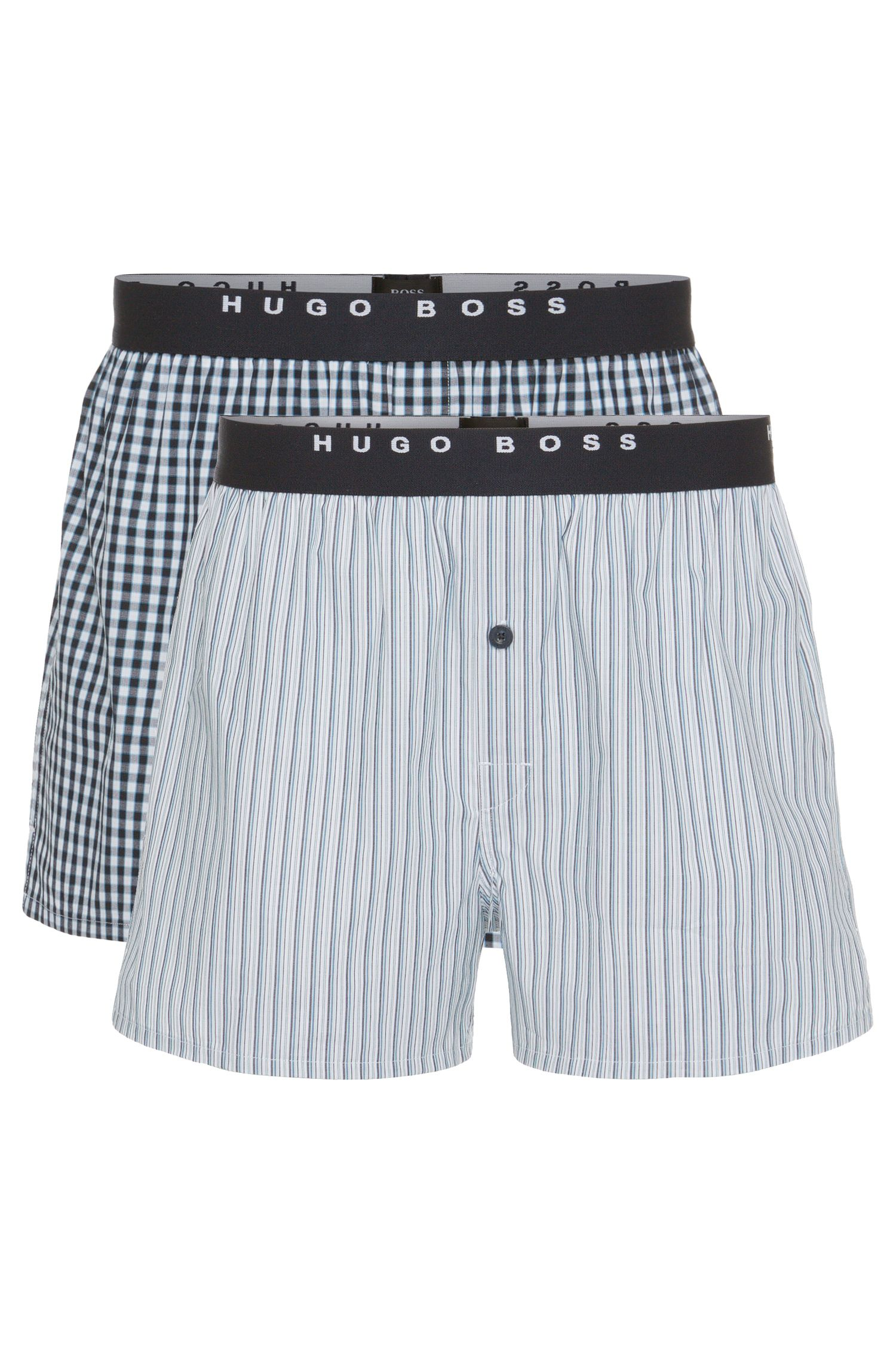 Patterned boxer shorts double pack in cotton: 'Woven Boxer EW 2P'