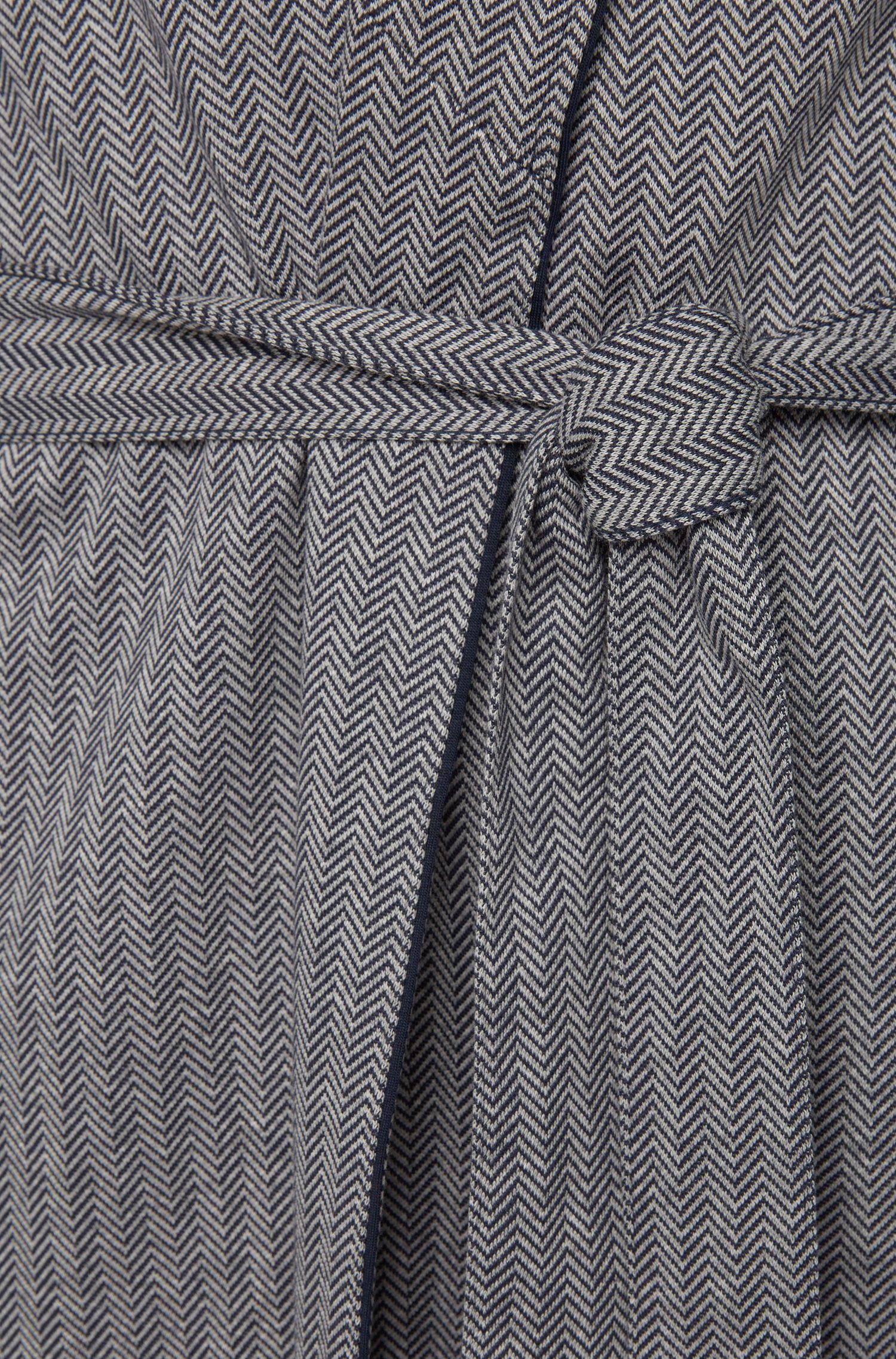 Ochtendjas van katoen met visgraatpatroon: 'Shawl Collar Robe'