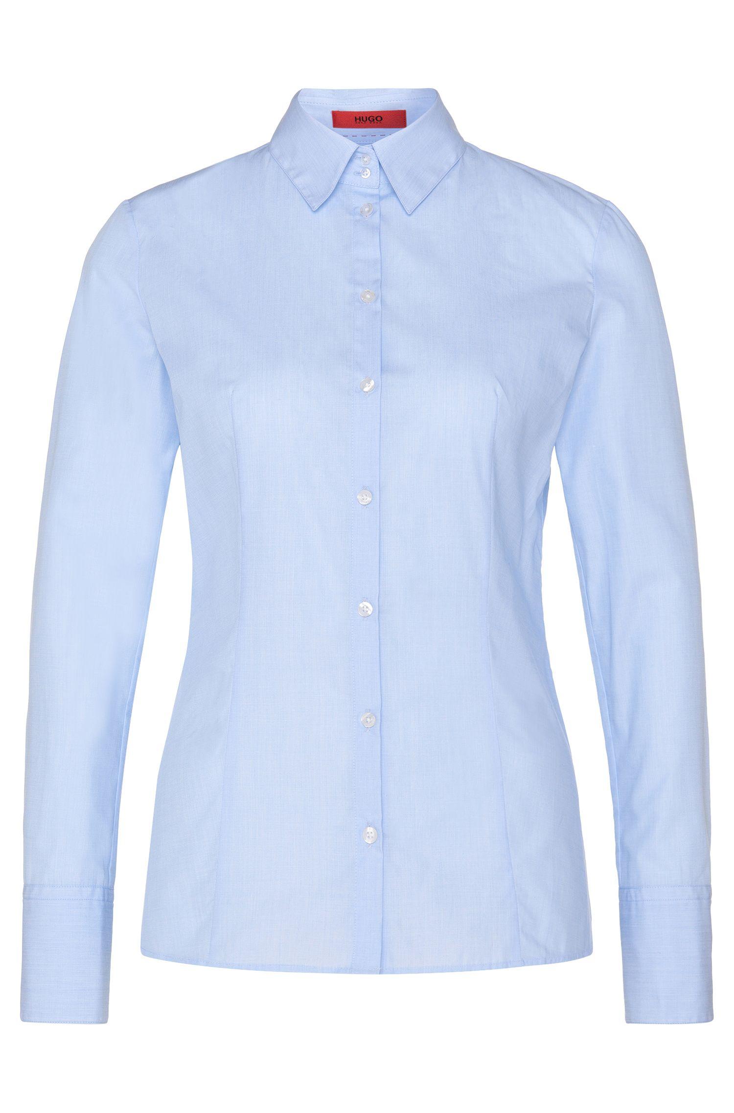 Unifarbene Hemdbluse aus reiner Baumwolle: 'Etrixe1'