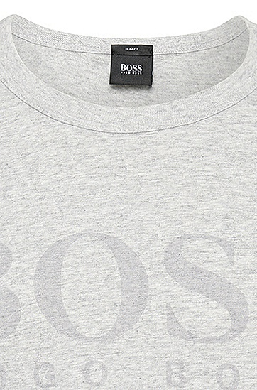 Slim-Fit T-Shirt aus Baumwolle mit Logo-Print: 'Lecco 144', Grau