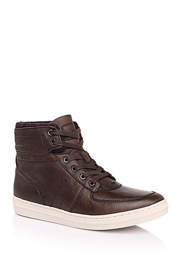 高帮真皮运动鞋:'Modelto',  201_暗棕色