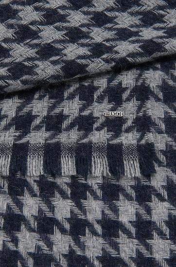 Schal aus Woll-Mix mit Hahnentritt-Muster: 'Women-Z 490', Dunkelblau