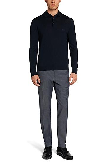 男士商务休闲长袖POLO衫,  402_暗蓝色