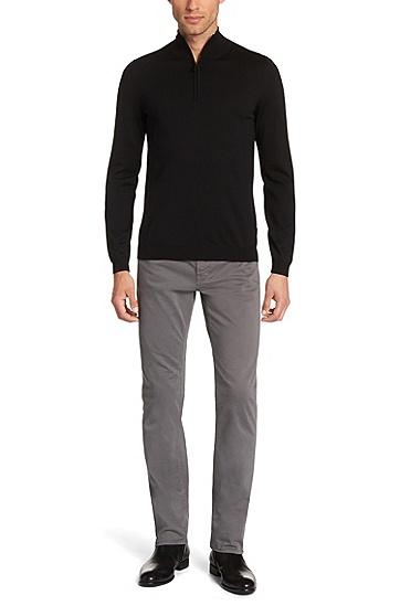男士商务休闲纯色针织衫,  001_黑色