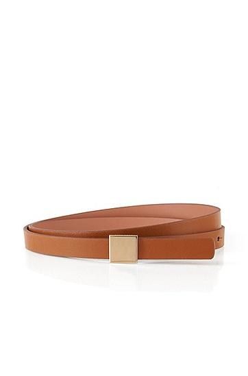 Unifarbener Ledergürtel mit quadratischer Schließe: 'Bliss', Braun