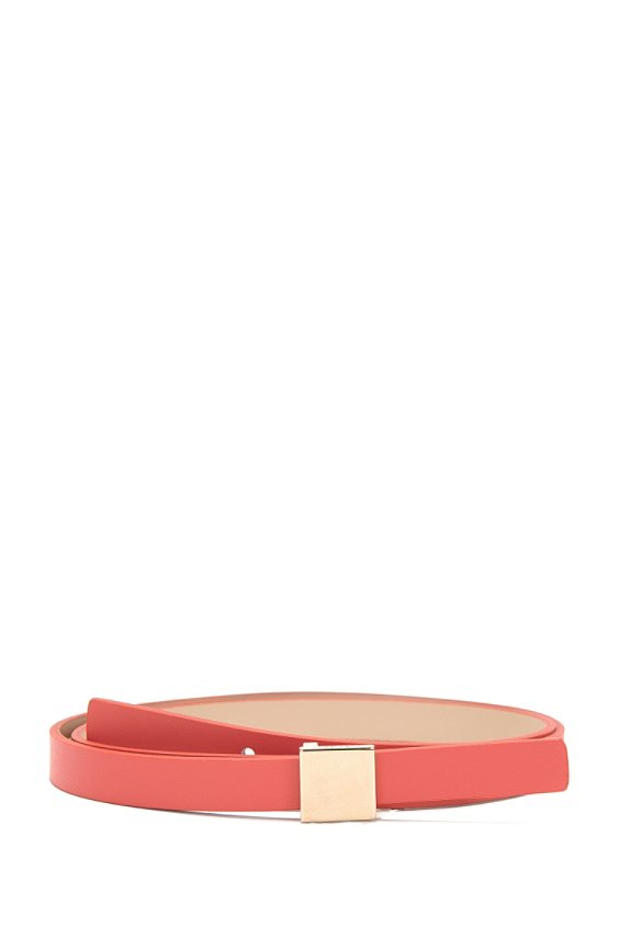 Plain leather belt with square clasp: 'Bliss', 665_Pink