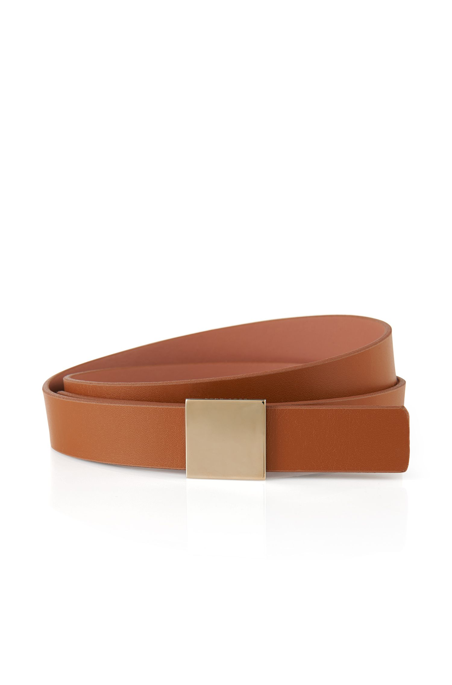 Leather belt with square, gold-coloured clasp: 'Bell'