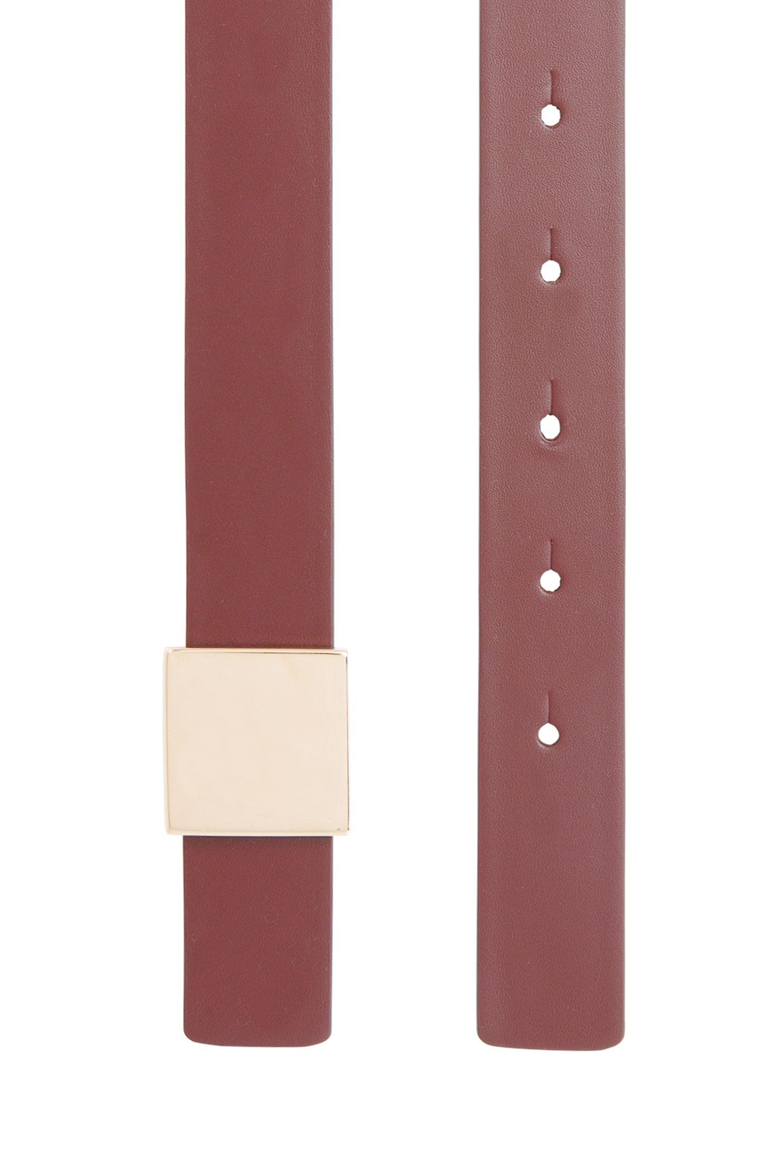 Gürtel aus Leder mit quadratischer, goldfarbener Schließe: 'Bell'