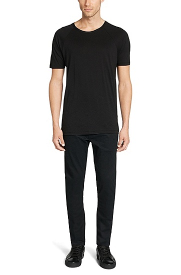 Regular-Fit T-Shirt aus Baumwoll-Mix: 'Drapo', Schwarz
