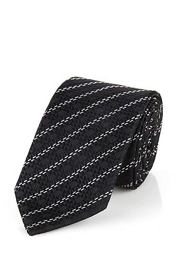 桑蚕丝混纺领带:'Tie 6 cm',  423_中蓝色