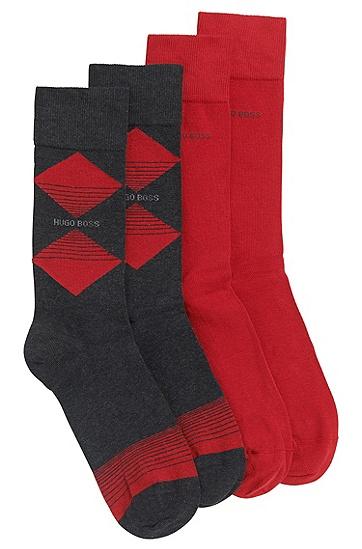 Socken aus Baumwoll-Mix mit Rauten-Muster im Zweier-Pack: 'Twpoack RS Design', Anthrazit