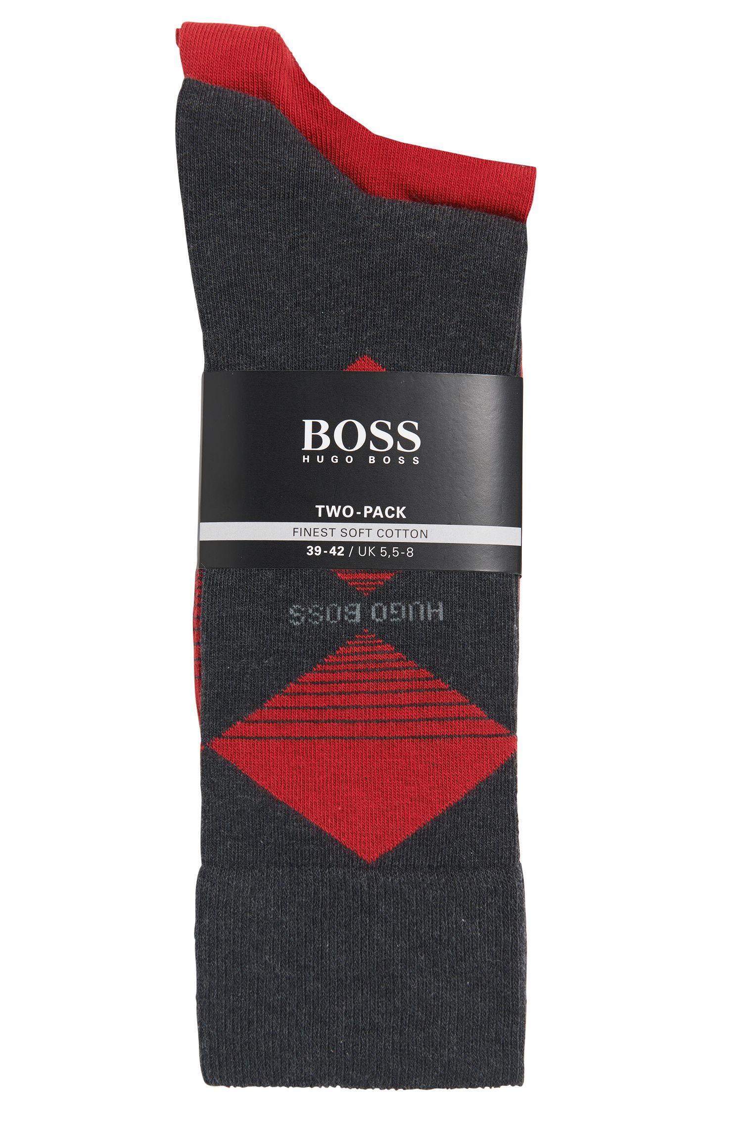 Chaussettes en coton mélangé à motif losanges, en lot de deux: «Twopack RS Design»