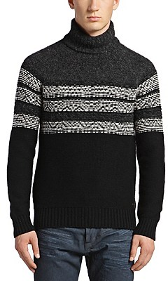 Polo neck sweater in chunky knit new-wool blend: 'Ardell', Patterned