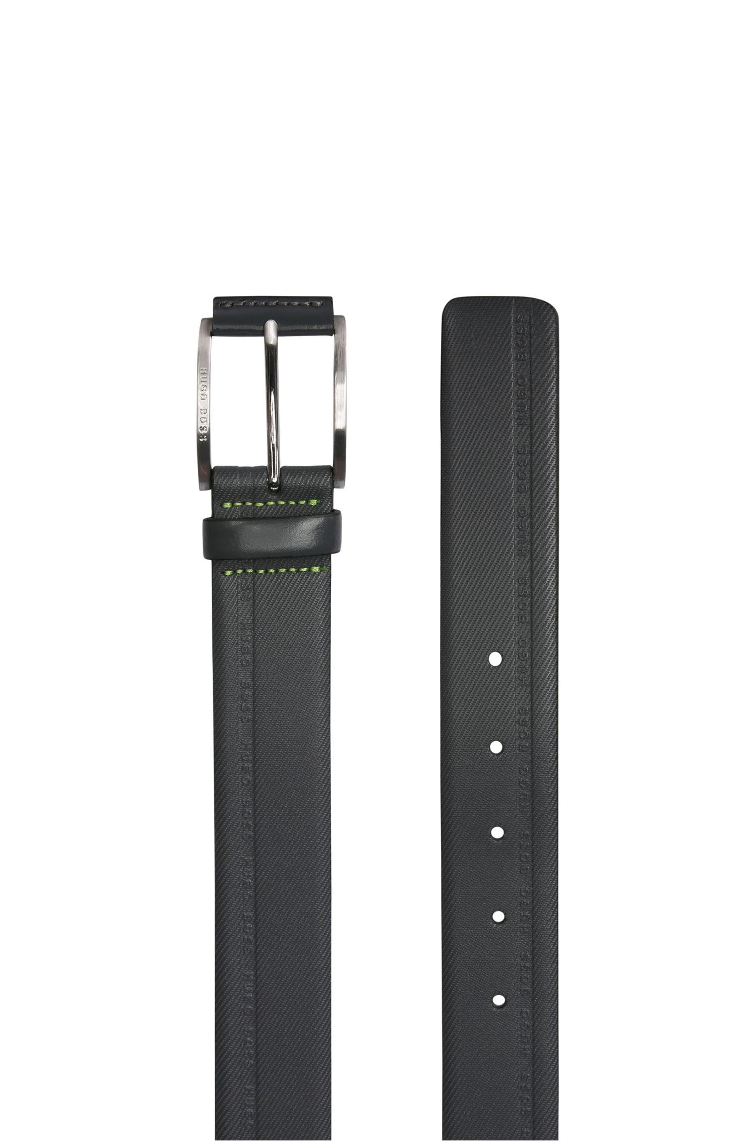 Markant strukturierter Ledergürtel mit Logo-Prägungen: ´Tymos`