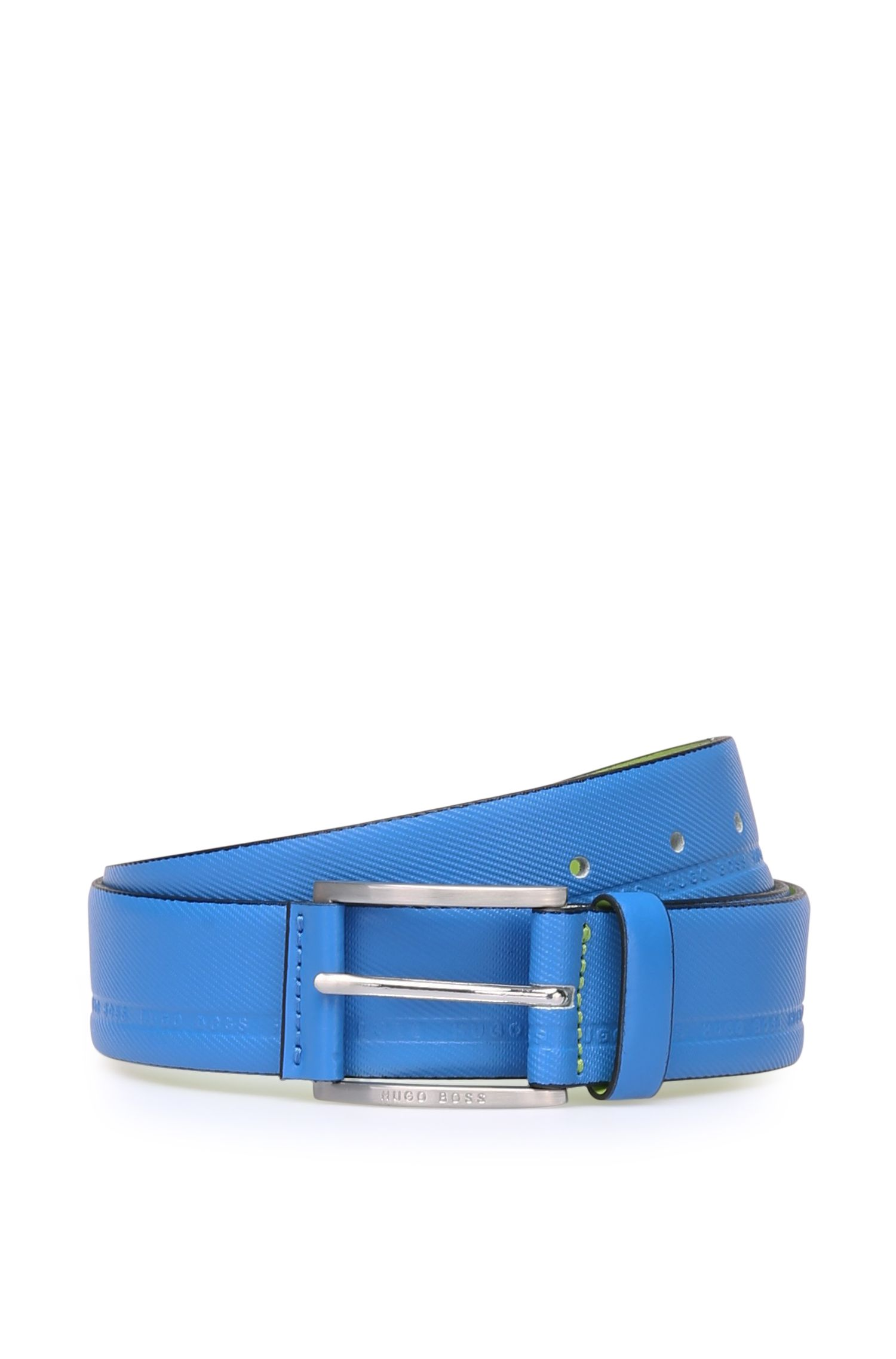 Distinctively textured leather belt with embossed logos: 'Tymos'