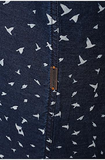 修身版图案式纯棉休闲衬衫:'EdipoE',  404_暗蓝色