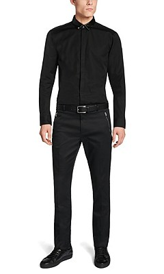 Slim-fit cotton shirt with a leather-effect collar: 'Elliott', Black