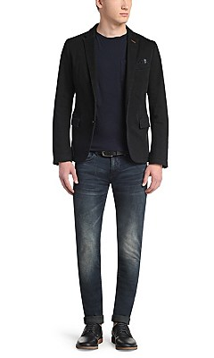 Slim-fit jacket in cotton blend: 'Benestretch2-W', Black