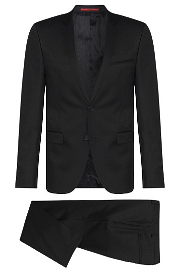 Extra-slim-fit suit in new wool in Superblack or Supernavy quality: 'Adris4/Heibo3', Black