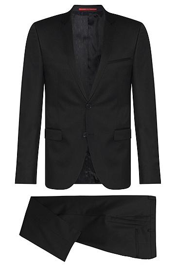 Extra slim-fit kostuum van scheerwol in Superblack/Supernavy: 'Adris4/Heibo3', Zwart
