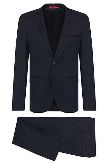 Extra-slim-fit suit in new wool in Superblack or Supernavy quality: 'Adris4/Heibo3', Dark Blue