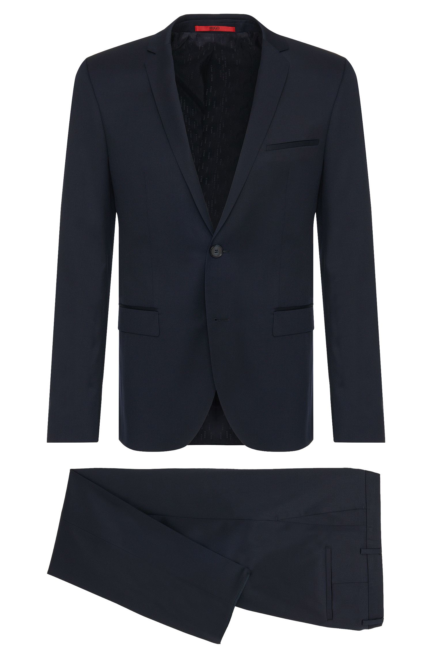 Abito extra slim fit in lana vergine di qualità Super Black/Supernavy: 'Adris4/Heibo3'