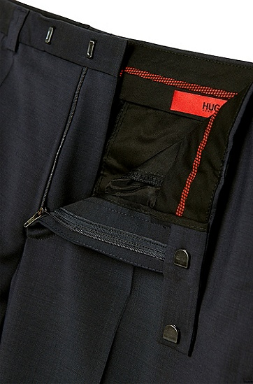 Unifarbene Extra Slim-Fit Hose aus reiner Schurwolle: 'HopeS', Dunkelblau