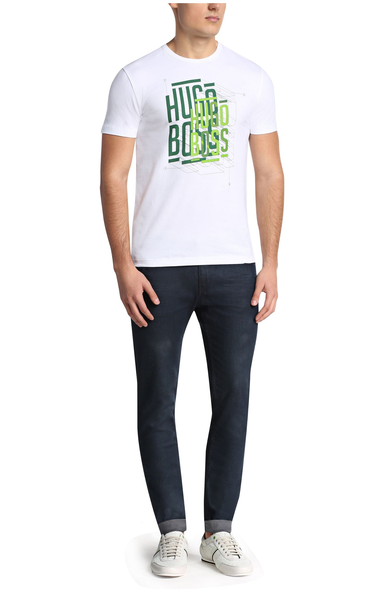 T-shirt imprimé en coton extensible: «Tee4»