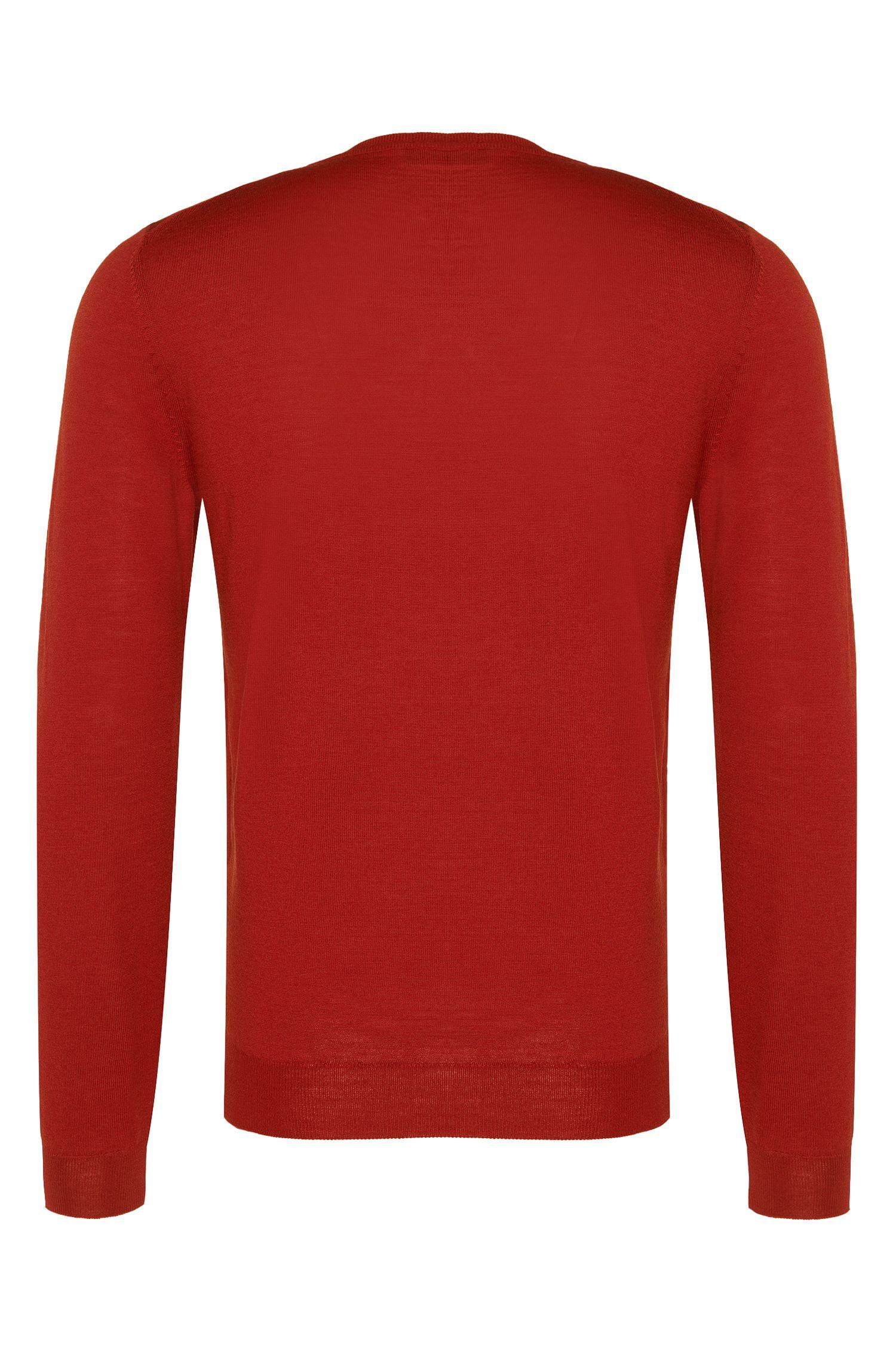 Unifarbener Slim-Fit Pullover aus Schurwolle: 'Leno-F'