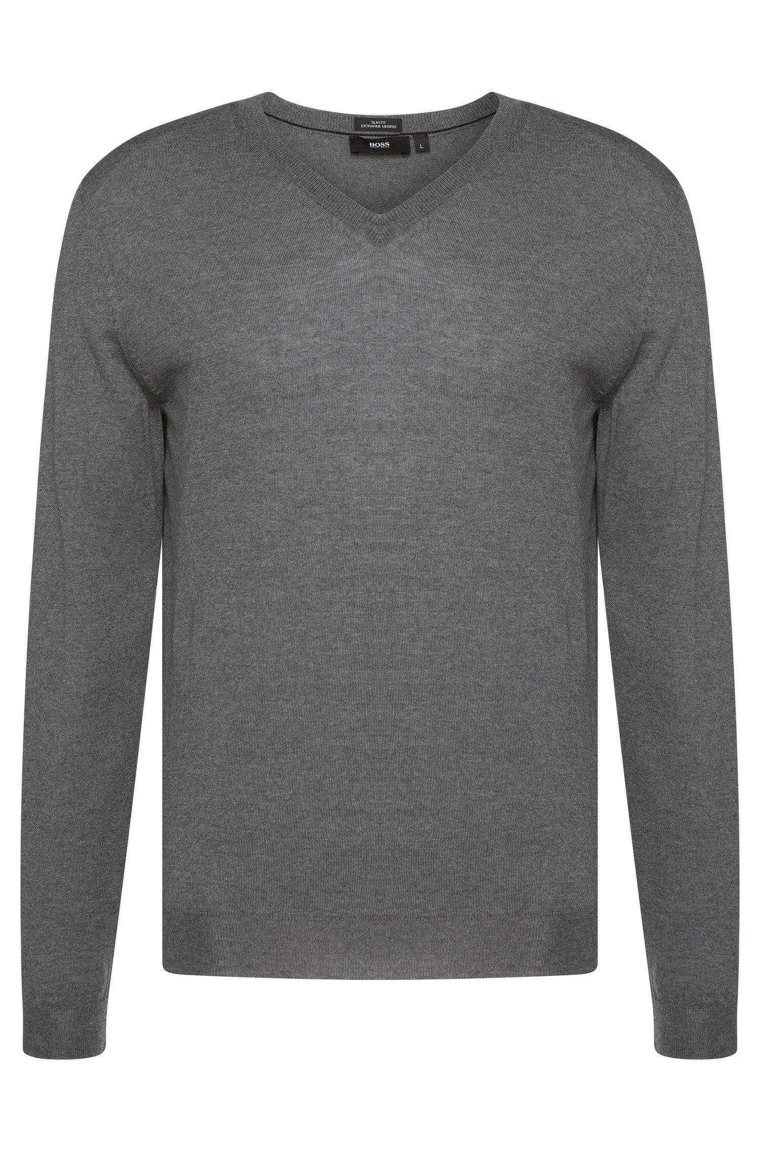 Unifarbener Slim Fit-Pullover aus Schurwolle: 'Melba-F'