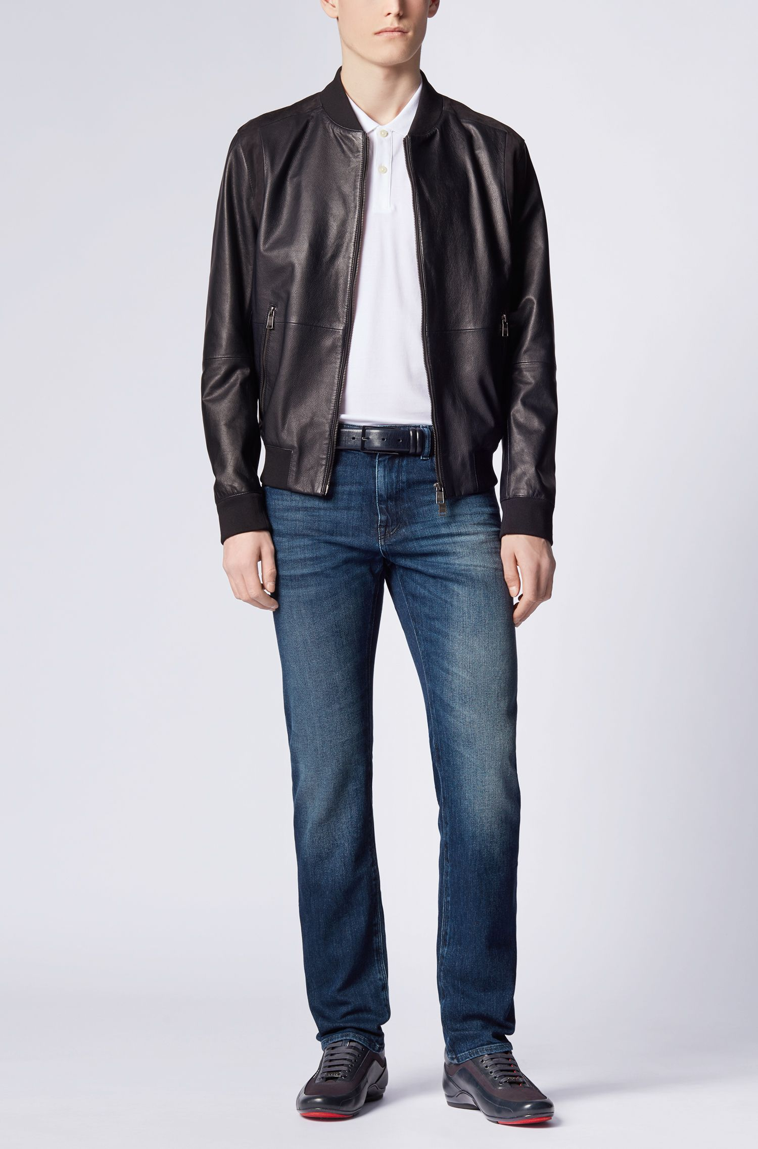 Regular-fit jeans van elastische katoen in used-look: 'Maine3'