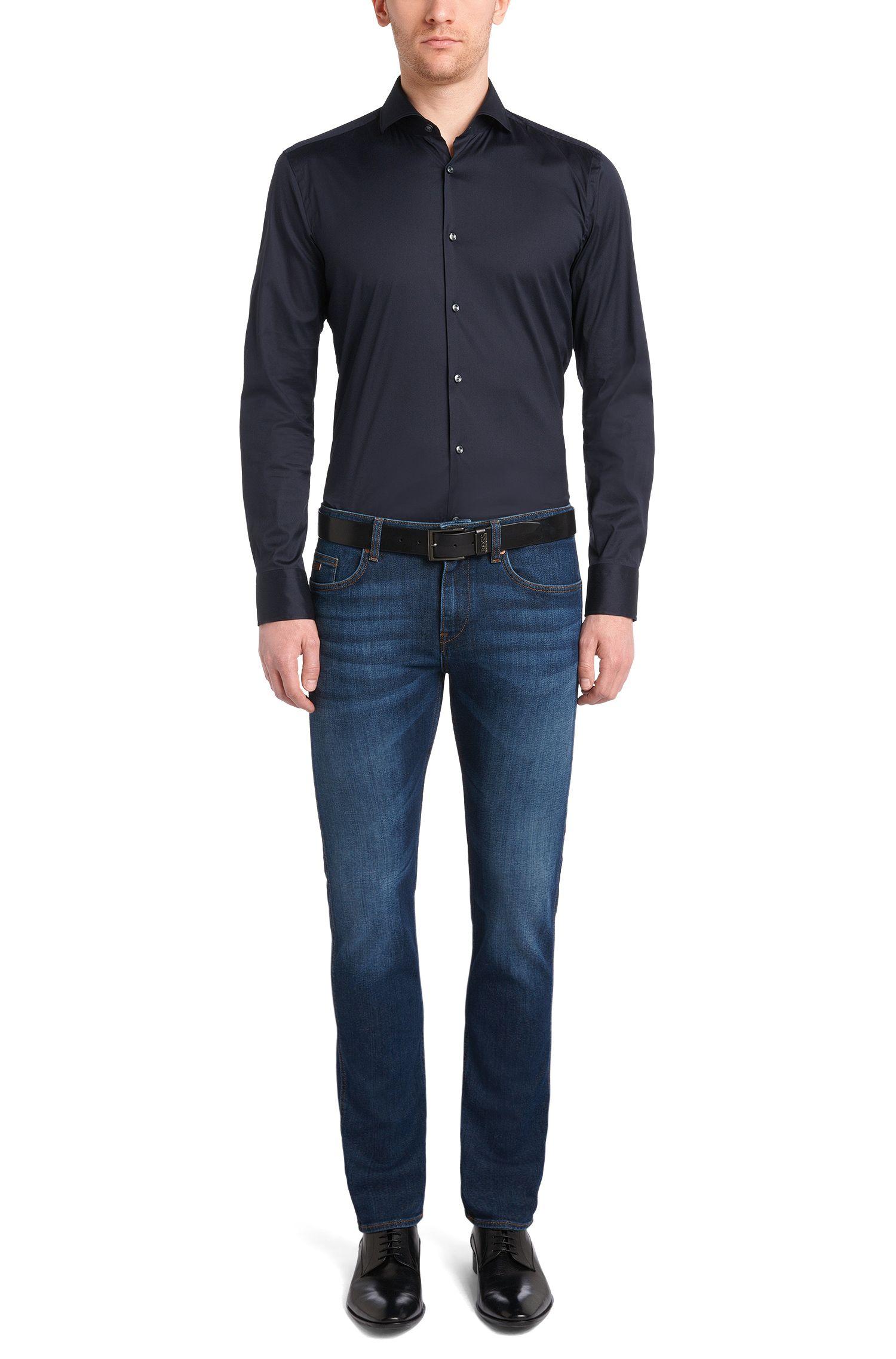 Slim-Fit Jeans aus elastischer Baumwolle mit Used-Waschung: 'Delaware3'