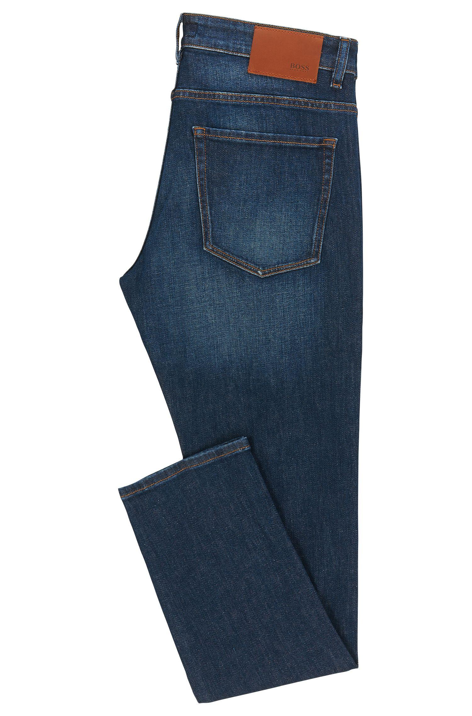 Jeans Slim Fit en coton extensible au délavage usé: «Delaware3»