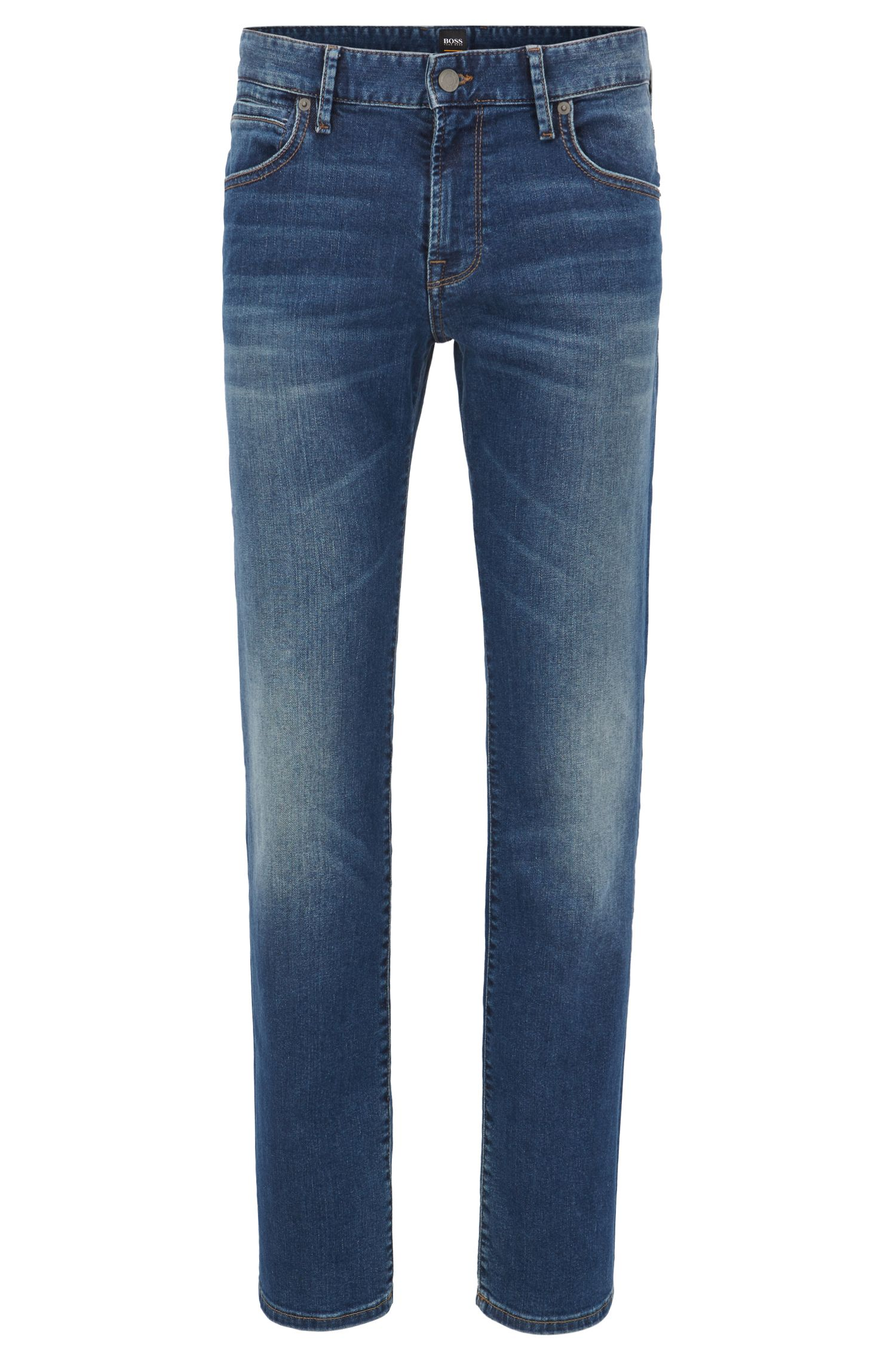 Regular-Fit Jeans aus indigofarbenem Used-Denim von BOSS Orange