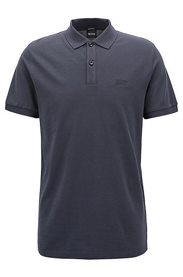 常规版精美凸纹布polo衫,  402_暗蓝色