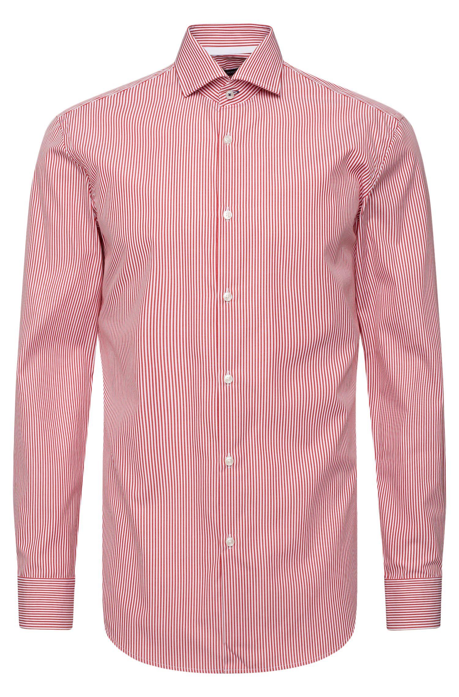 Gestreiftes Slim-Fit Hemd aus bügelleichter Baumwolle: 'Jery'