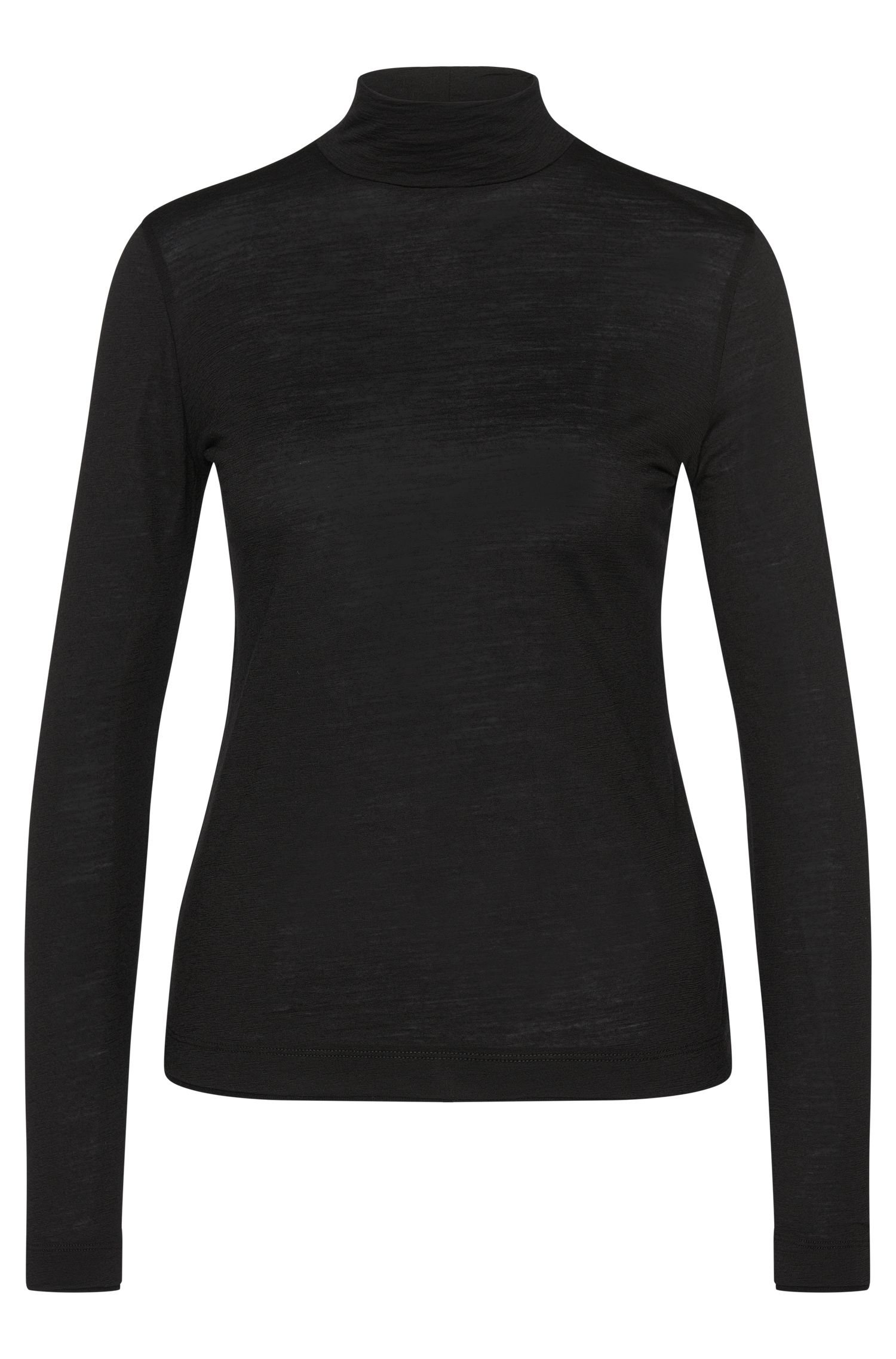 Long-sleeved shirt in wool with polo neck: 'Eliene'