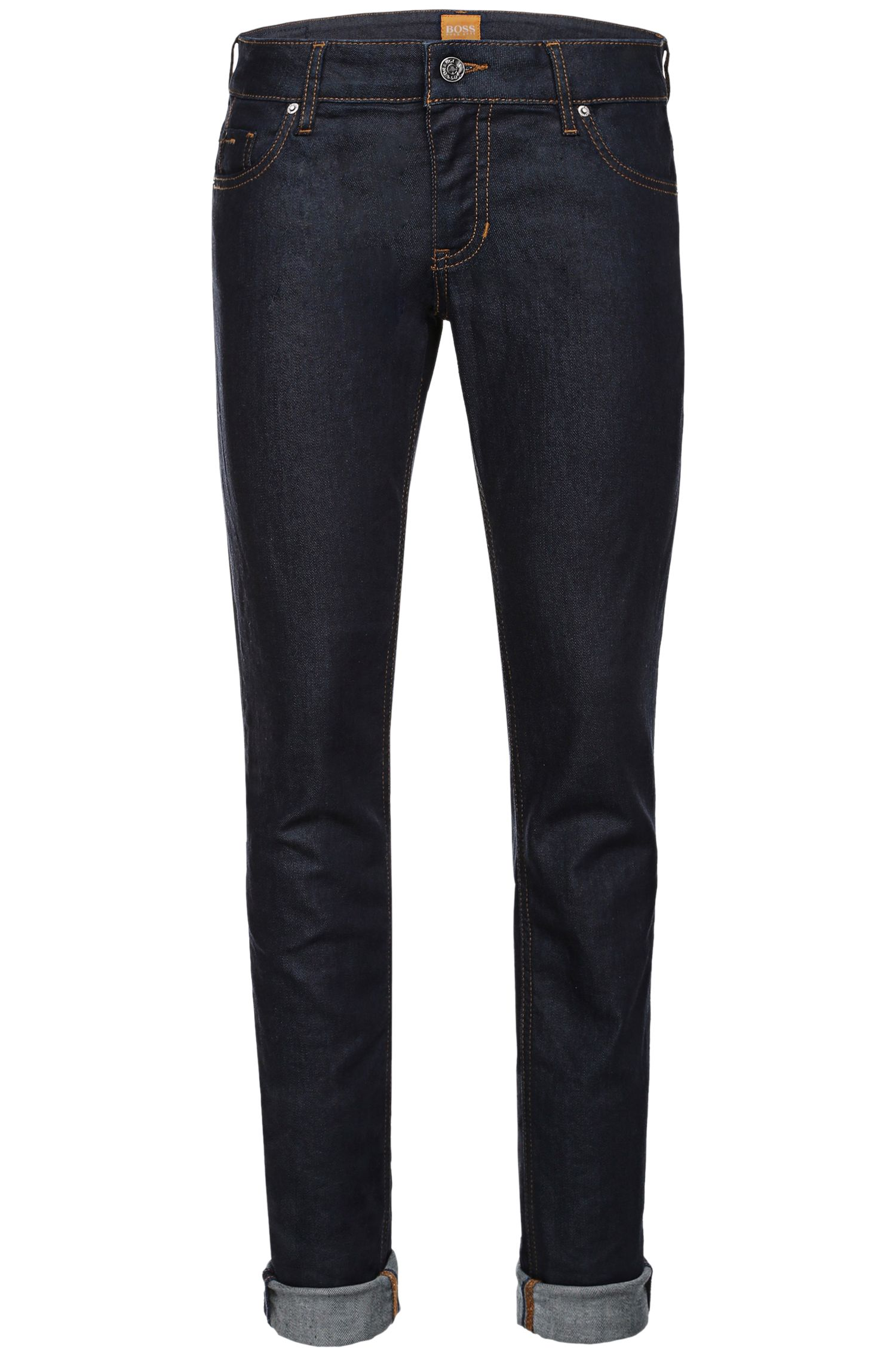 Slim-fit jeans in stretch-cotton blend: 'Orange J20'
