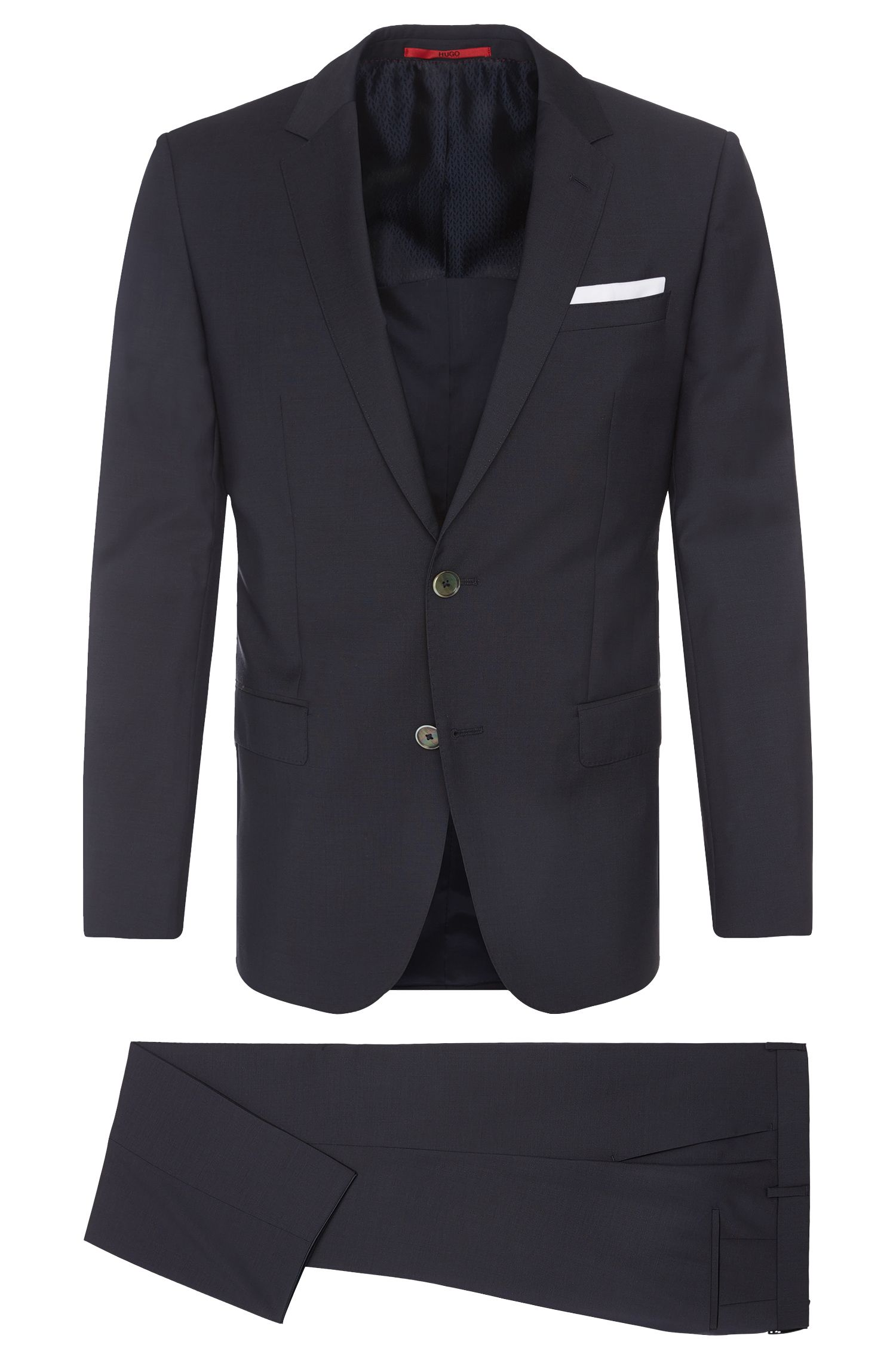 Slim-fit suit in new wool with pocket square: 'C-Hutson1/C-Gander'