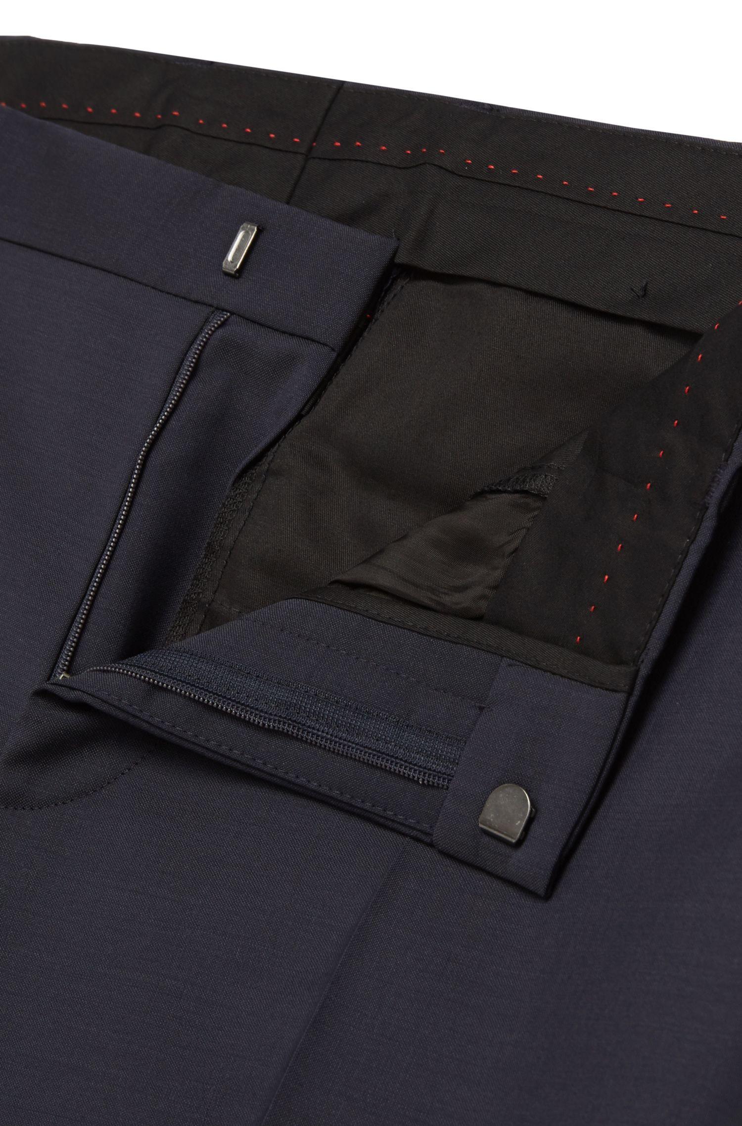 Costume Slim Fit en laine vierge avec pochette: «C-Hutson1/C-Gander»