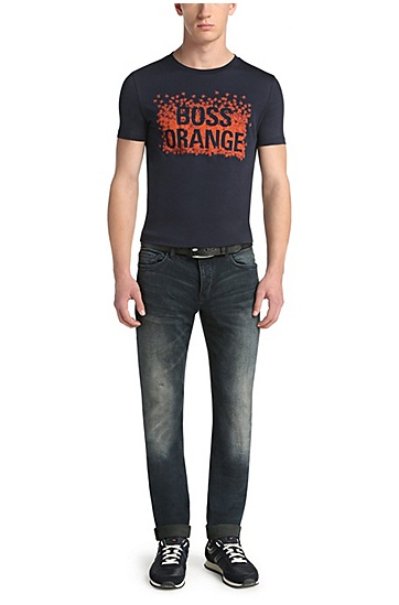 Tapered-Fit Jeans aus Stretch-Baumwolle: ´Orange90`, Dunkelblau