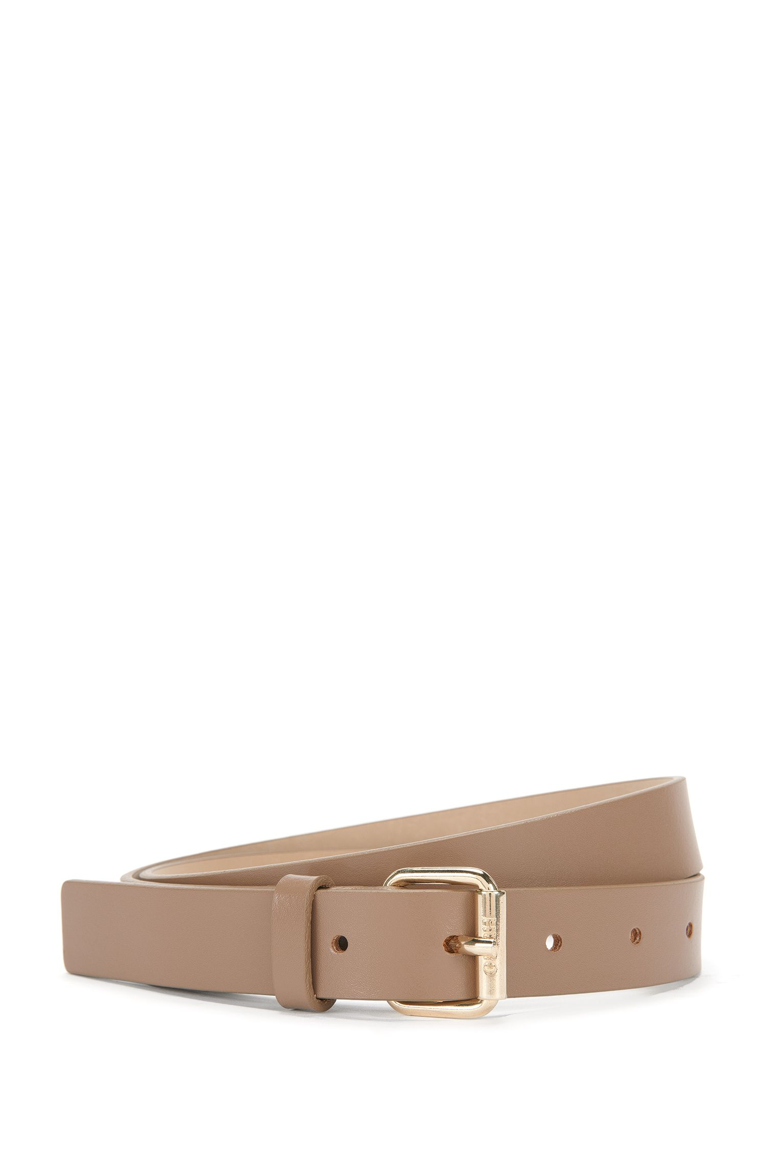 Narrow leather belt with pin buckle: 'Ley-D'