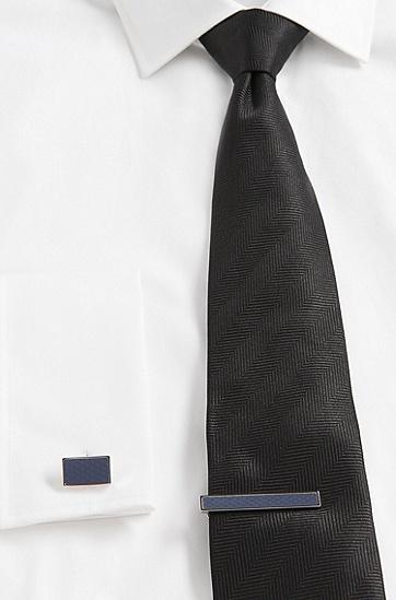 Krawattennadel aus Messing und Edelstahl: 'Tobi', Dunkelgrau