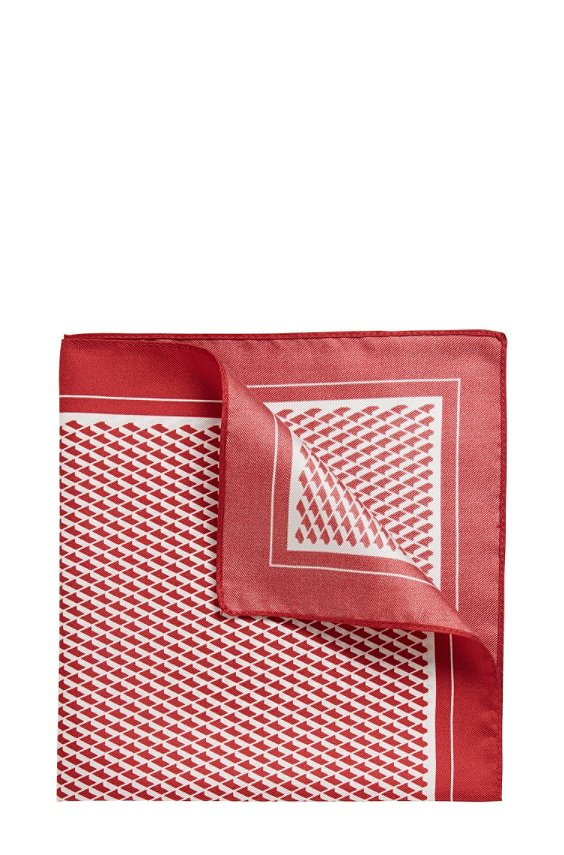 Pochet van zijde: 'Pocket sq. cm 33x33', Rood