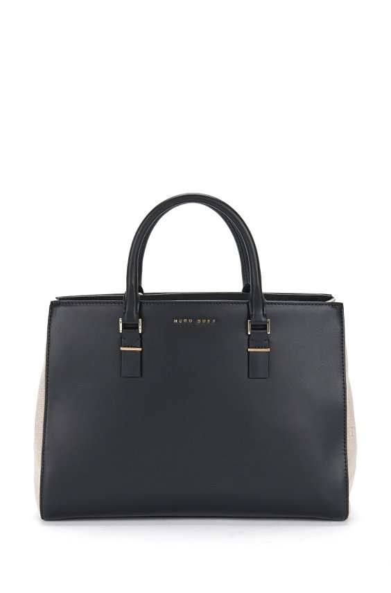 Leather shopper with linen elements: 'Luxury Staple T.M-T', Black