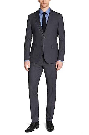 Extra Slim-Fit Anzug aus Schurwoll-Mix im Denim-Stil: 'Reyno1/Wave1', Blau