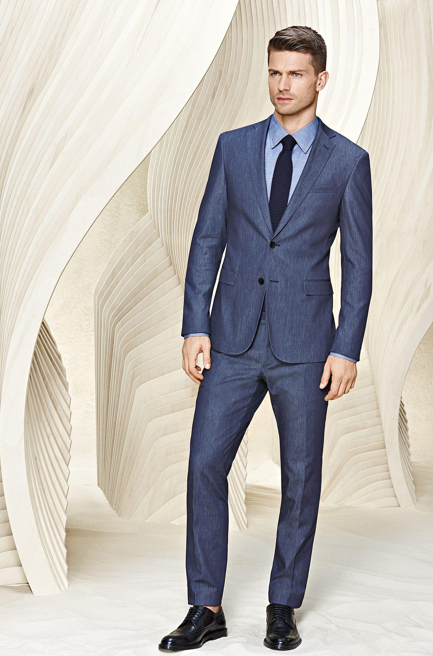Extra Slim-Fit Anzug aus Schurwoll-Mix im Denim-Stil: 'Reyno1/Wave1'
